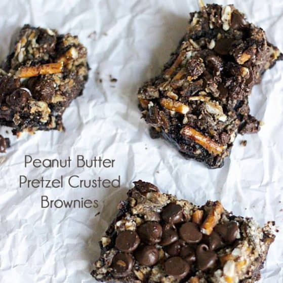 Peanut Butter Chocolate Pretzel Crusted Brownies. The best brownies EVER! Recipe via thepinningmama.com