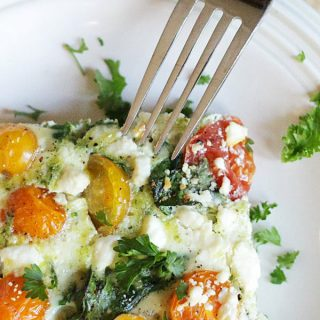So Good You Will Forget It's Healthy: Spinach Pesto Feta Egg Casserole
