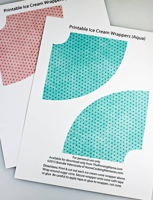 Free Printable Polka Dot Ice Cream Cone Wrappers The Pinning Mama