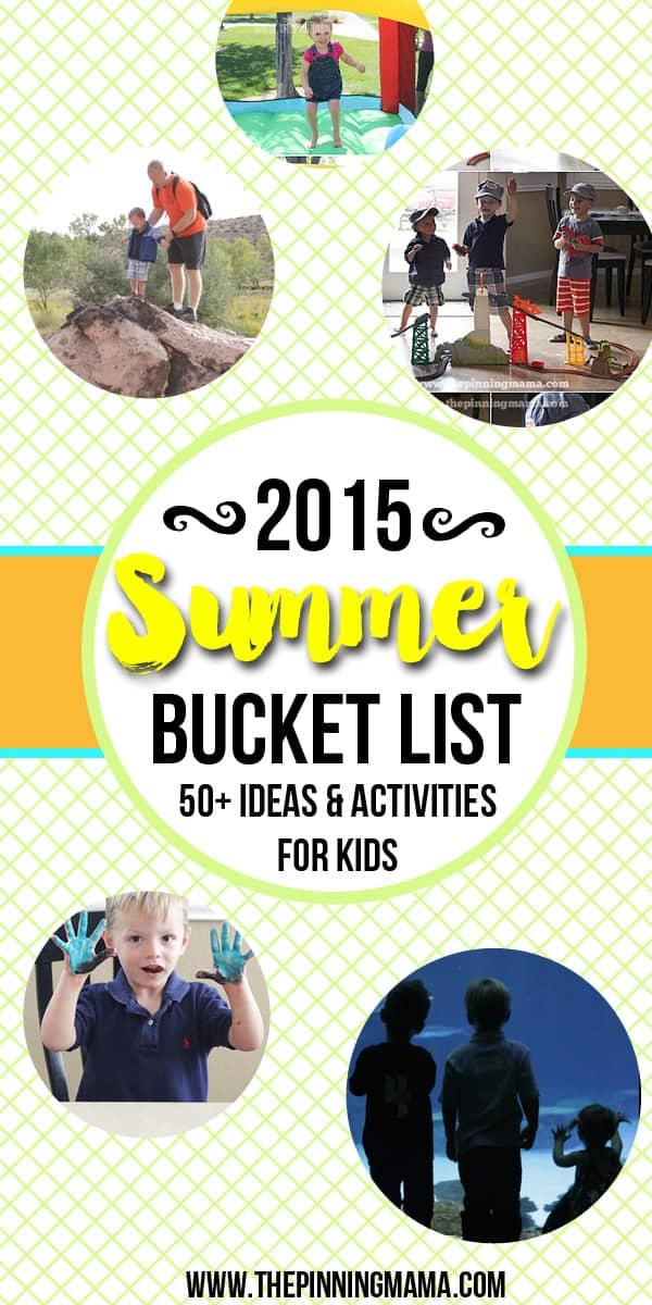 Totally doing this with my kids this summer!! Summer Bucket List for Kids - over 50 ideas with instructions on how to do each thing and FREE printable to check off what is completed!