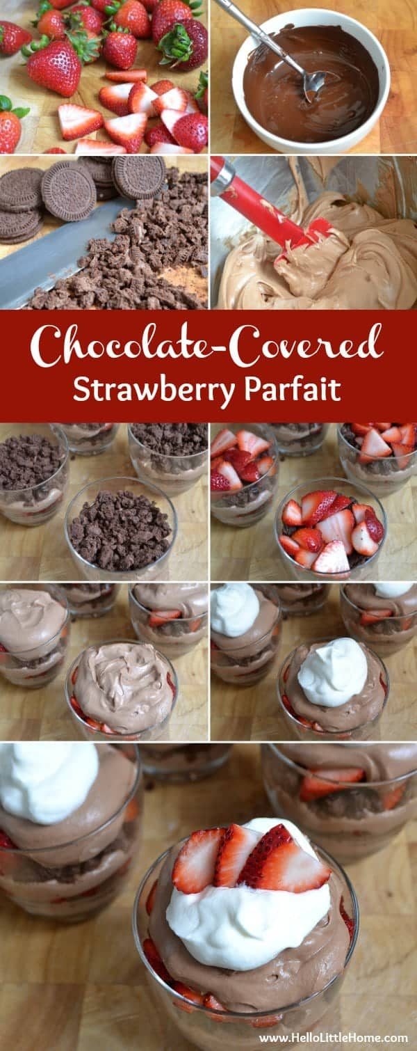 Treat yourself to this decadent Chocolate-Covered Strawberry Parfait! | Hello Little Home for The Pinning Mama