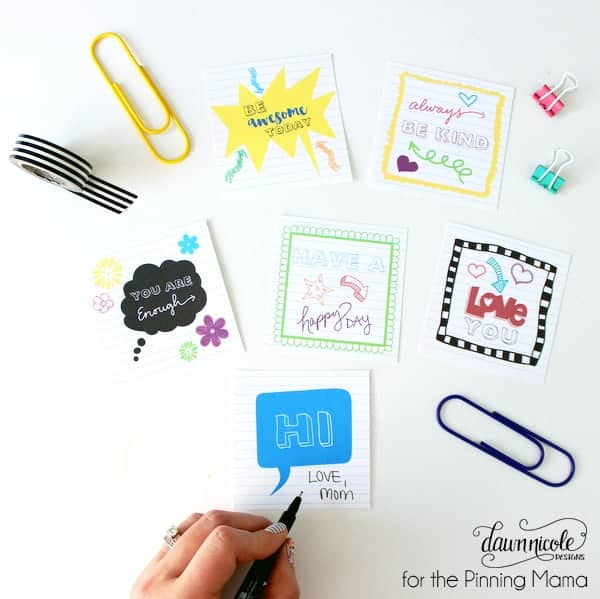 Brighten up your kiddo's day with these Free Printable Lunch Box Notes | thepinningmama.com