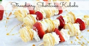 Light and airy puff pastry layered on top of fresh strawberries and whipped cream. These strawberry shortcake kabobs are a light dessert for summer parties.