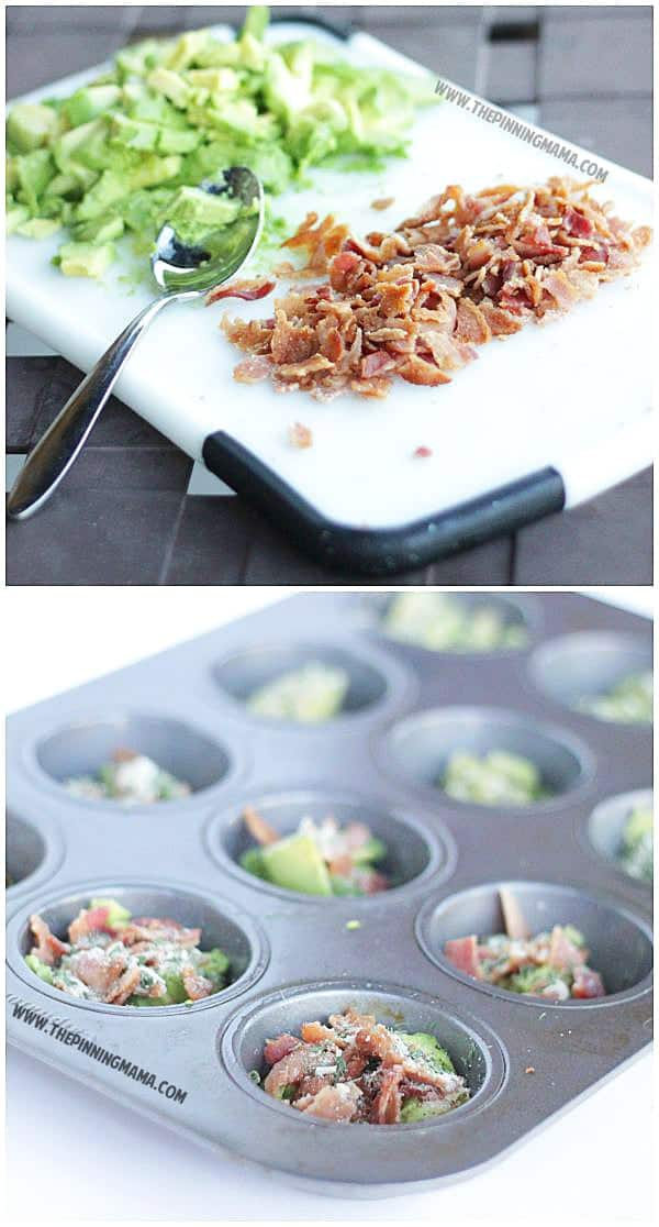 Bacon Avocado Ranch Egg cups- perfect easy breakfast on the go. Paleo, whole30 compliant, gluten free, dairy free recipe.