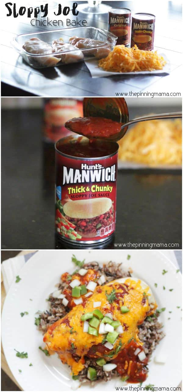 One dish. 3 ingredients. Perfectly Easy Dinner. Sloppy Joe chicken bake by www.thepinningmama.com