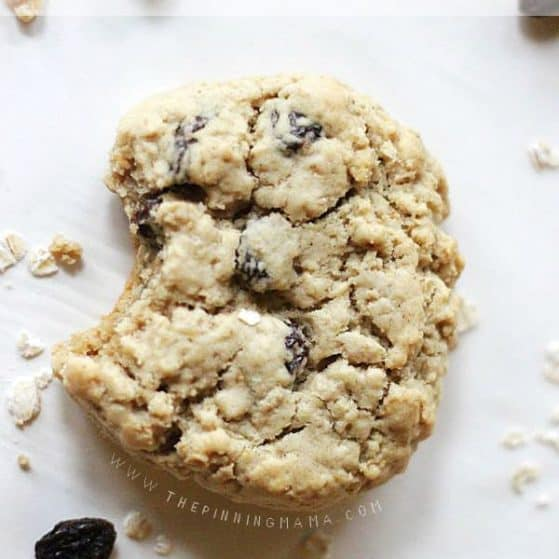 Soft, chewy, thick oatmeal raisin cookie recipe. My favorite kind!