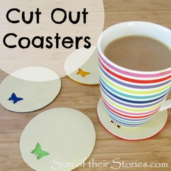 Cut out coasters craft: Perfect for kids and teens -Use up your scraps of leather, felt and fabric!