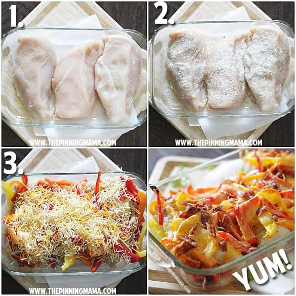Only 5 ingredients and 10 minutes of prep! Easy Bacon Ranch Chicken Bake, light version!