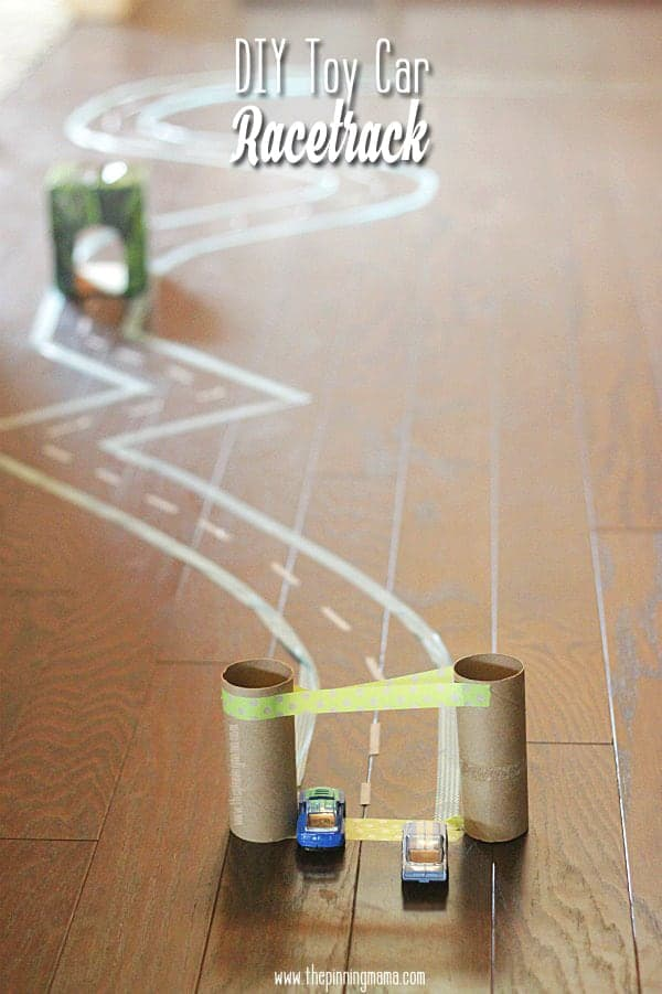Perfect to help kids engage in imaginative play. Design a DIY race track with washi tape (removable) Use toilet paper rolls to make tunnels and ramps.