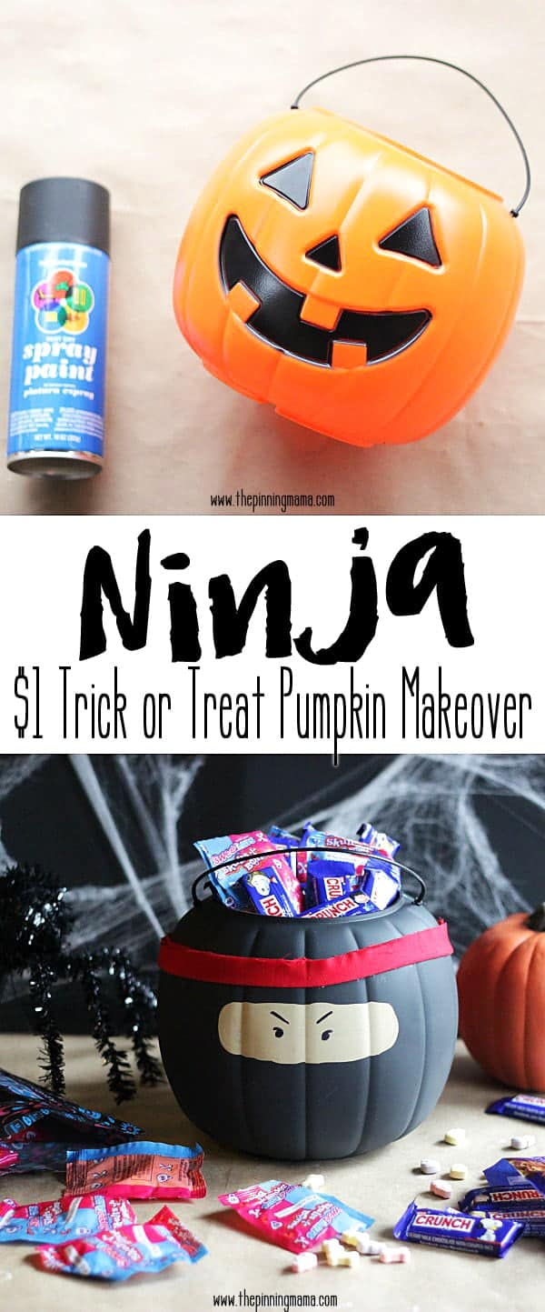 From Halloween Pumpkin to Ninja Trick or Treat Bucket in just 4 easy steps! So cool! My 4 year old will LOVE this!