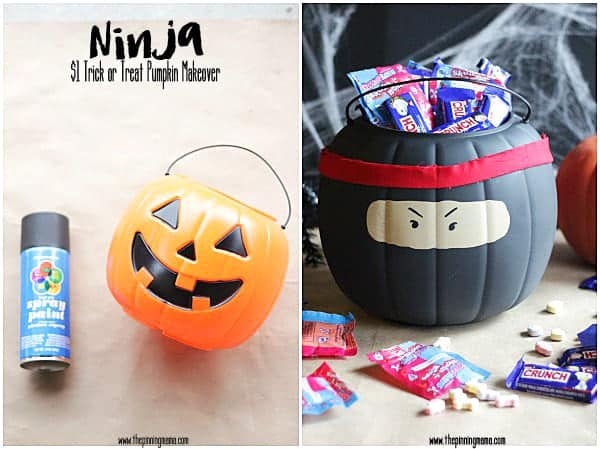 In only 4 steps transform your orange $1 halloween pumpkin into a cool ninja trick or treat bucket with this easy DIY.