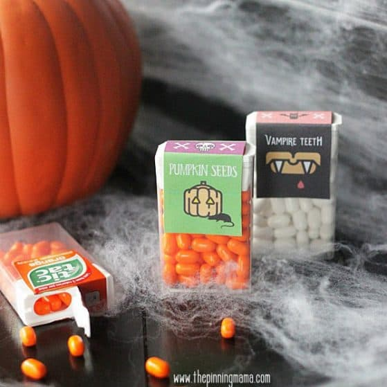 Halloween Printables - Pumpkin Seeds and Vampire Teeth Tic Tac Labels. Too cute!