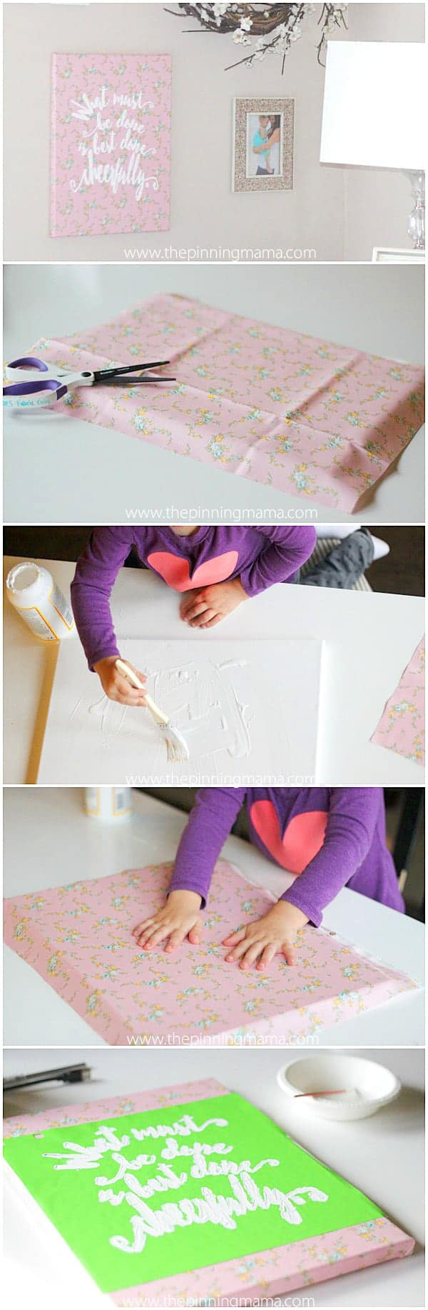 Perfect easy craft idea! Make this canvas with fabric and a stencil to match any space or decor. She even used Little House on the Prairie Fabric for her daughter's room. Too cute!