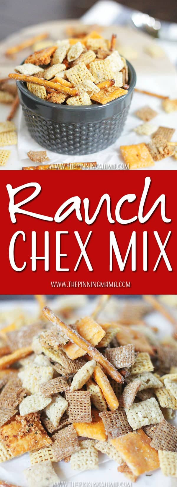 Cheesy Ranch Chex mix is our favorite snack! We LOVE ranch everything and make this recipe all the time!