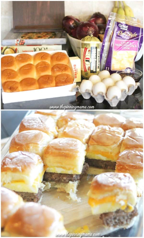 Sausage egg and cheese breakfast slider sandwiches with syrup glaze and