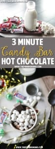 3 Minute Candy Bar Hot Chocolate Recipe- I guess this is what you do with all the candy from the stockings! This sounds so delicious and easy for a cold night!