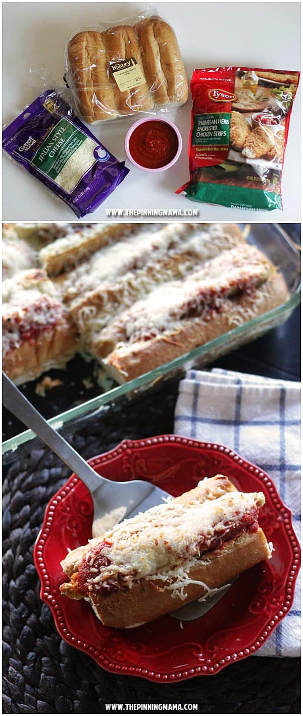 Easy Chicken Parmesan Sandwich recipe - Seriously delicious and super easy dinner idea with only 4 ingredients! My kids love it when I make this every time!