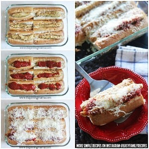 Easy Chicken Parmesan Sandwich Bake - Great for watching football or entertaining a crowd. You can make these with just 4 ingredients and bake them all in a dish together so it only takes minutes to put together! What a delicious recipe and a great idea!