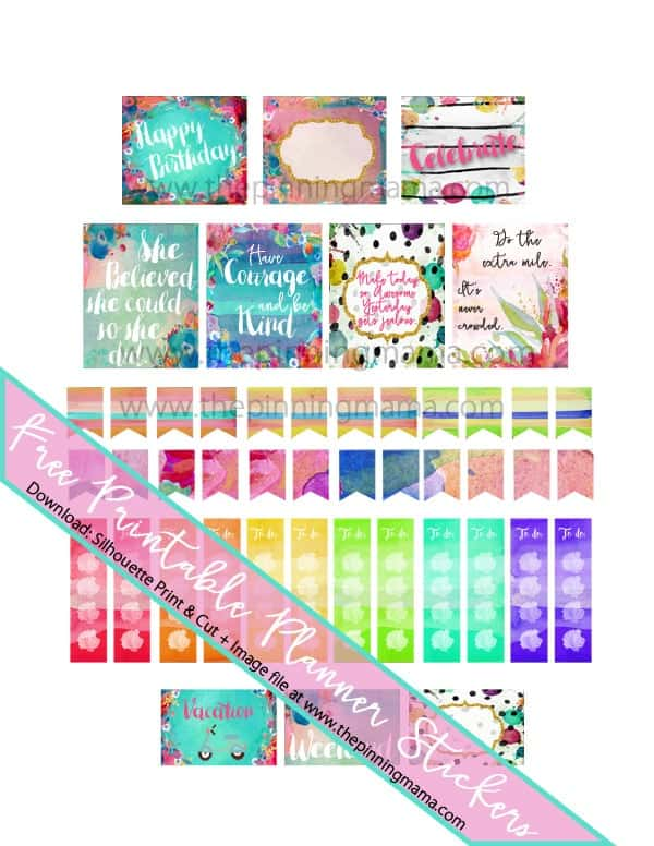 Free Printable Watercolor Planner stickers - Love these for getting organized in style!
