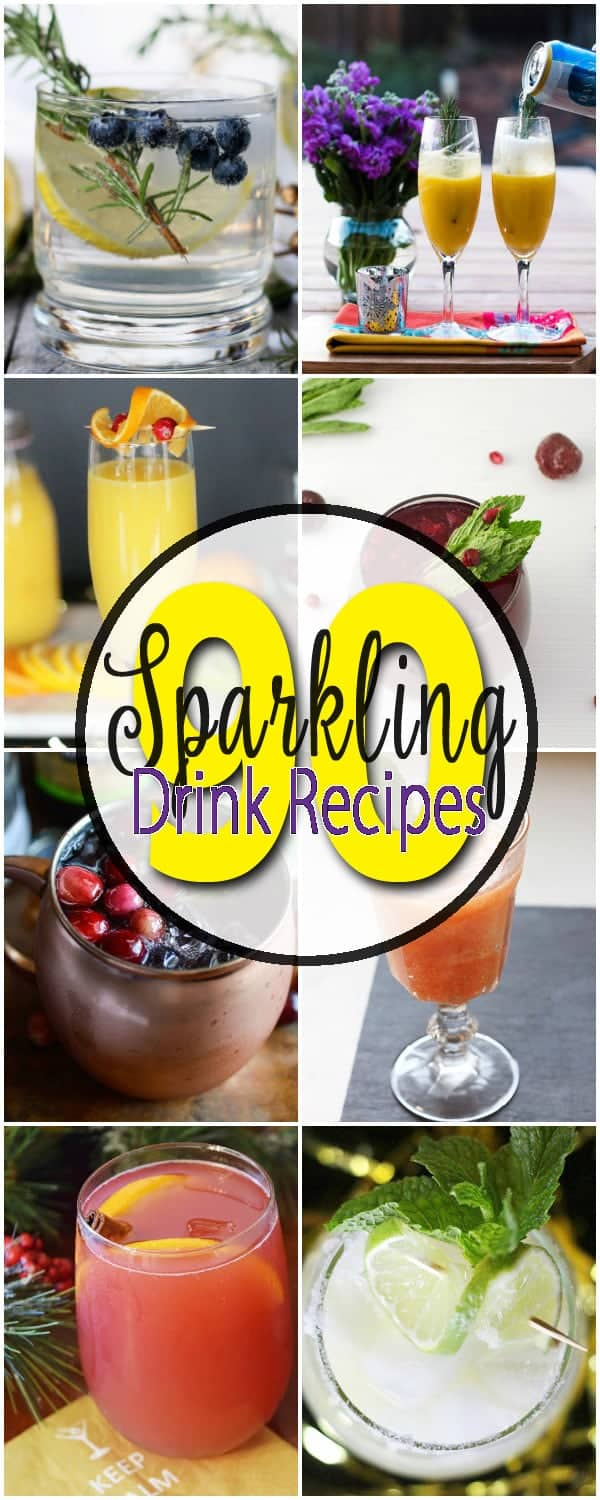 Over 90 Sparkling Drink recipes for any and every celebration!! Perfect for a party, weddings, baby showers, holidays, and any event or celebration. This is the ULTIMATE list! Every drink you will ever need!
