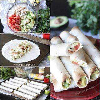 Easy Baked Chicken & Avocado Taquitos