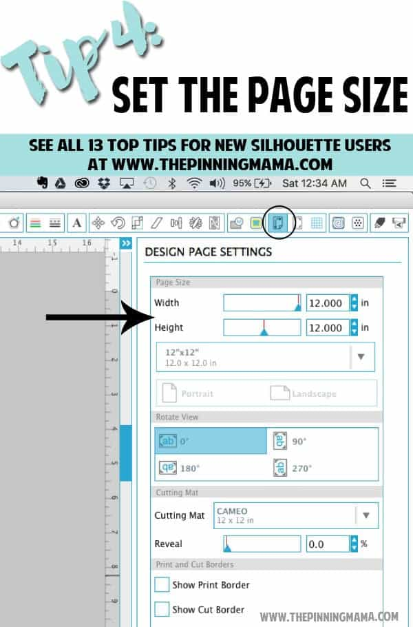 Tip 4: How to set the correct page size in the Silhouette Studio Software. Read this tip and all 13 MUST KNOW Tips for New Silhouette Users here. This is an AMAZING beginner resource!