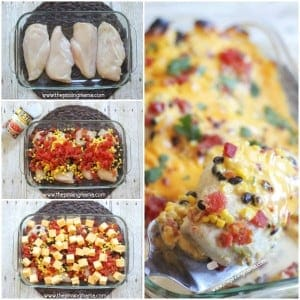 One Dish QUESO Chicken Bake recipe - This easy chicken dinner can be prepped and in the oven in 5 minutes flat. And we LOVE Ro-tel cheese dip!