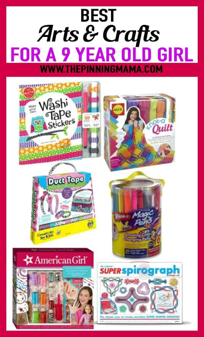 Best Craft Gift Ideas for a 9 year old girl- includes washi tape stickers, no-sew quilting, duct tape, markers, american girl activities, and spirograph
