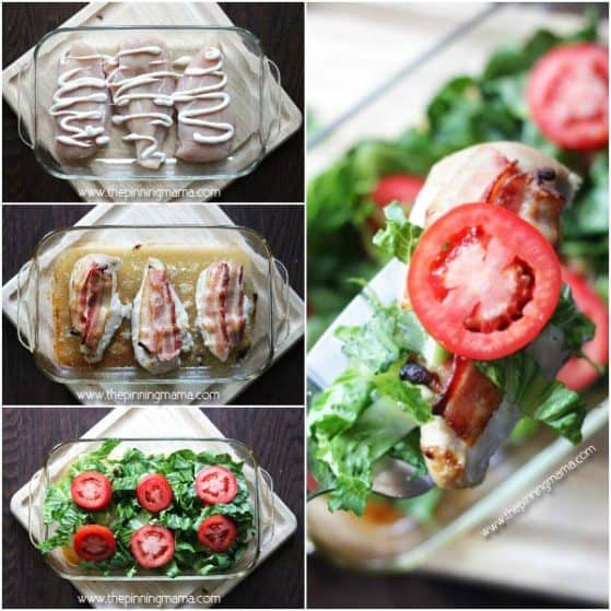 Quick + Easy + Healthy = BEST DINNER EVER! BLT Chicken Bake - Bacon, lettuce, tomato and ranch layered onto wholesome chicken breast. YUM!