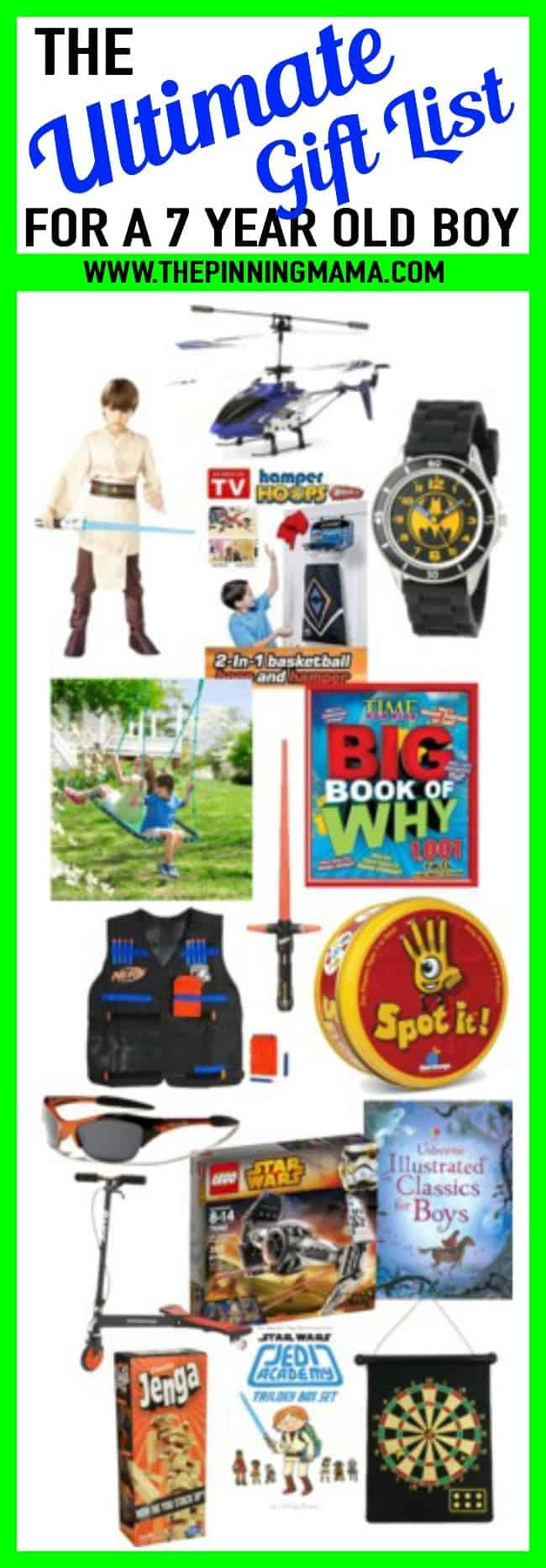 Ultimate list of gift ideas for a 7 year old boy. Best ideas for birthday presents and Christmas presents including electronics, games, outdoor toys, sports, books etc