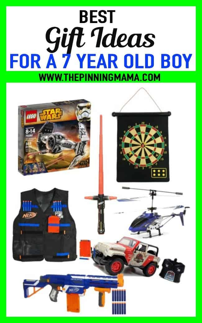 Best gift ideas for a 7 year old boy. Birthday or Christmas presents including legos, dart board, nerf guns, remote control cars and more!
