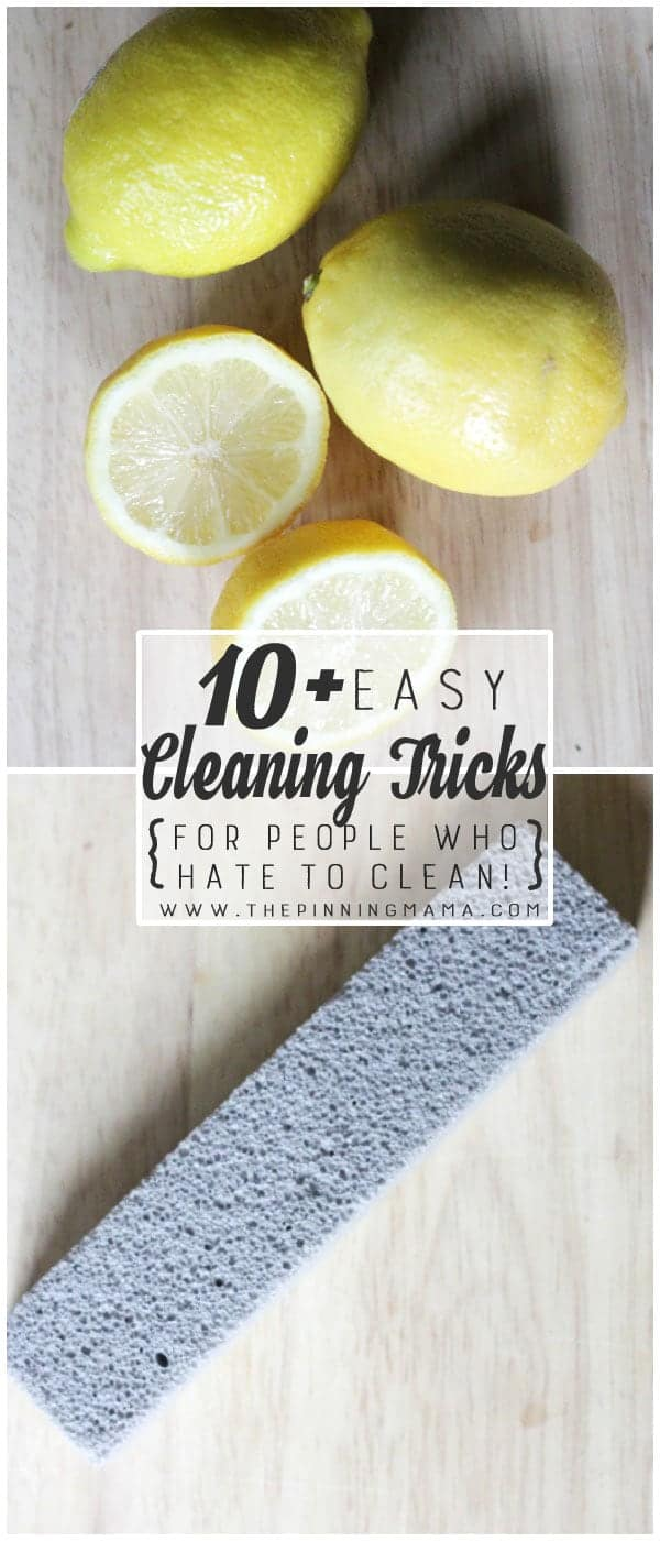 Use lemons and pumice stones to easily remove mineral and hard water stains - See 10+ MORE Cleaning tips, tricks and hacks for people that HATE to clean here!
