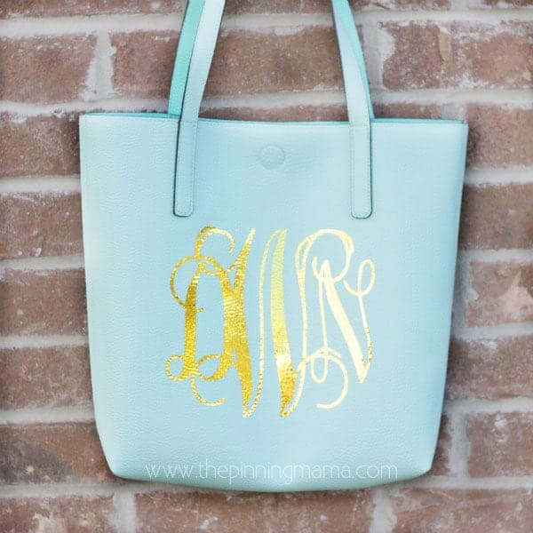Easy DIY Personalized tote bag with gold foil Heat Transfer Vinyl you can iron on!