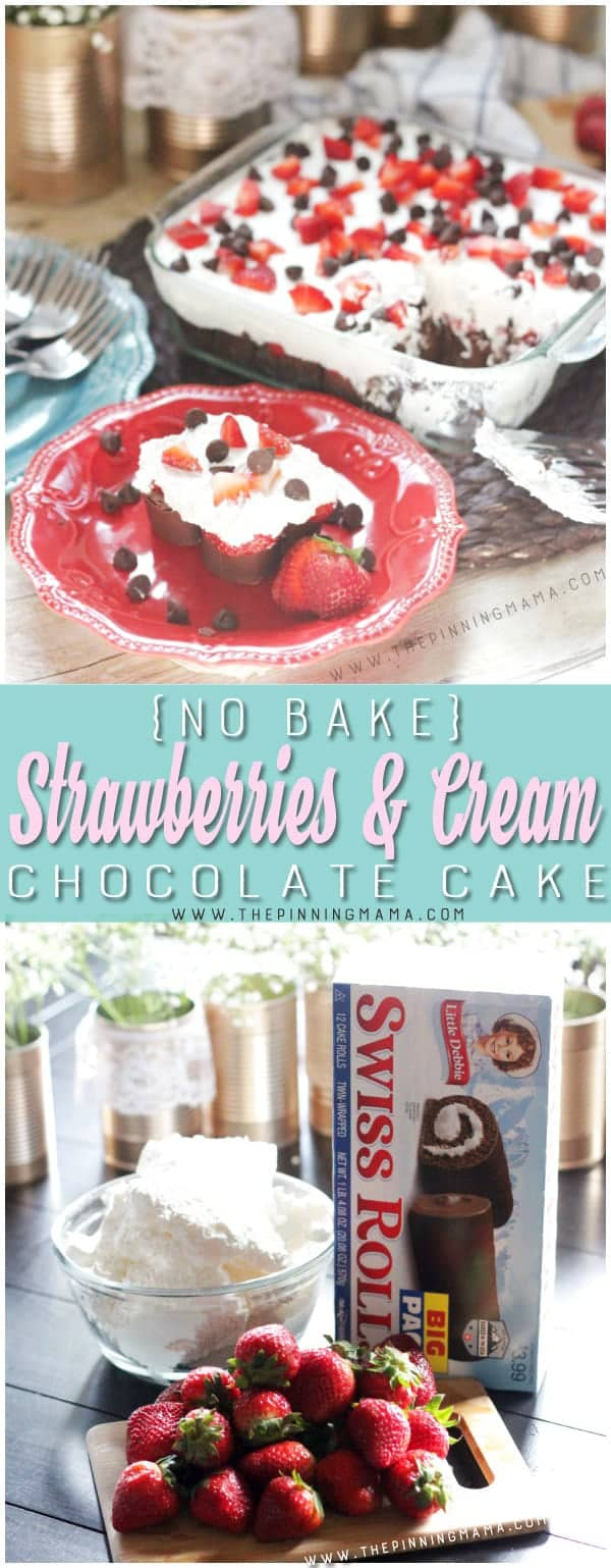 No Bake Strawberries & Cream Chocolate Cake - 3 ingredient no bake dessert idea! You can make this in minutes to bring to a potluck, barbecue, or for a quick and easy summer dessert!