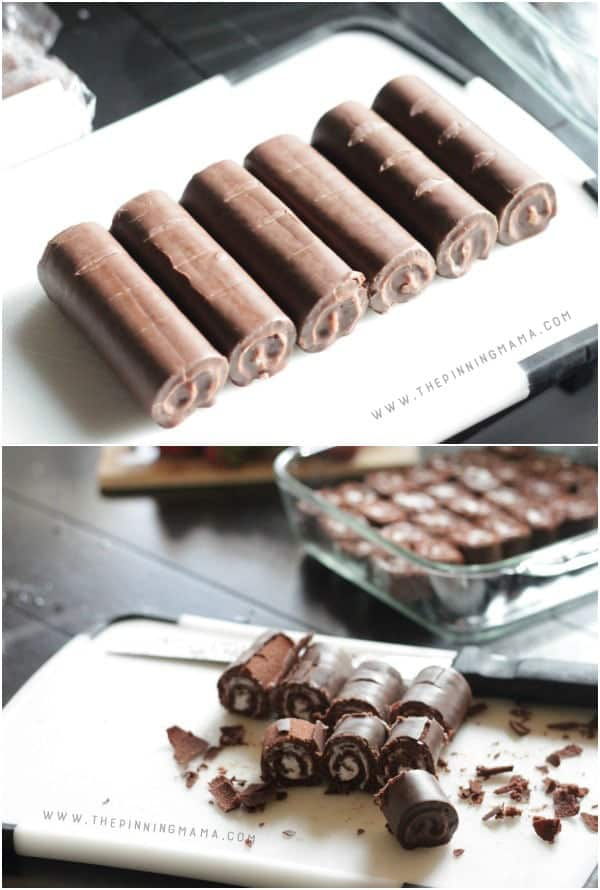 Use a long serrated knife to mark cuts on the Swiss Rolls to make them even. No Bake Strawberries & Cream Chocolate Cake