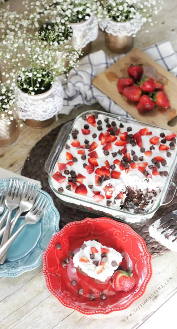 Easy No Bake Chocolate Strawberry Cake - Perfect for summer Barbecues this summer! You can whip up this simple dessert in just 10 minutes!