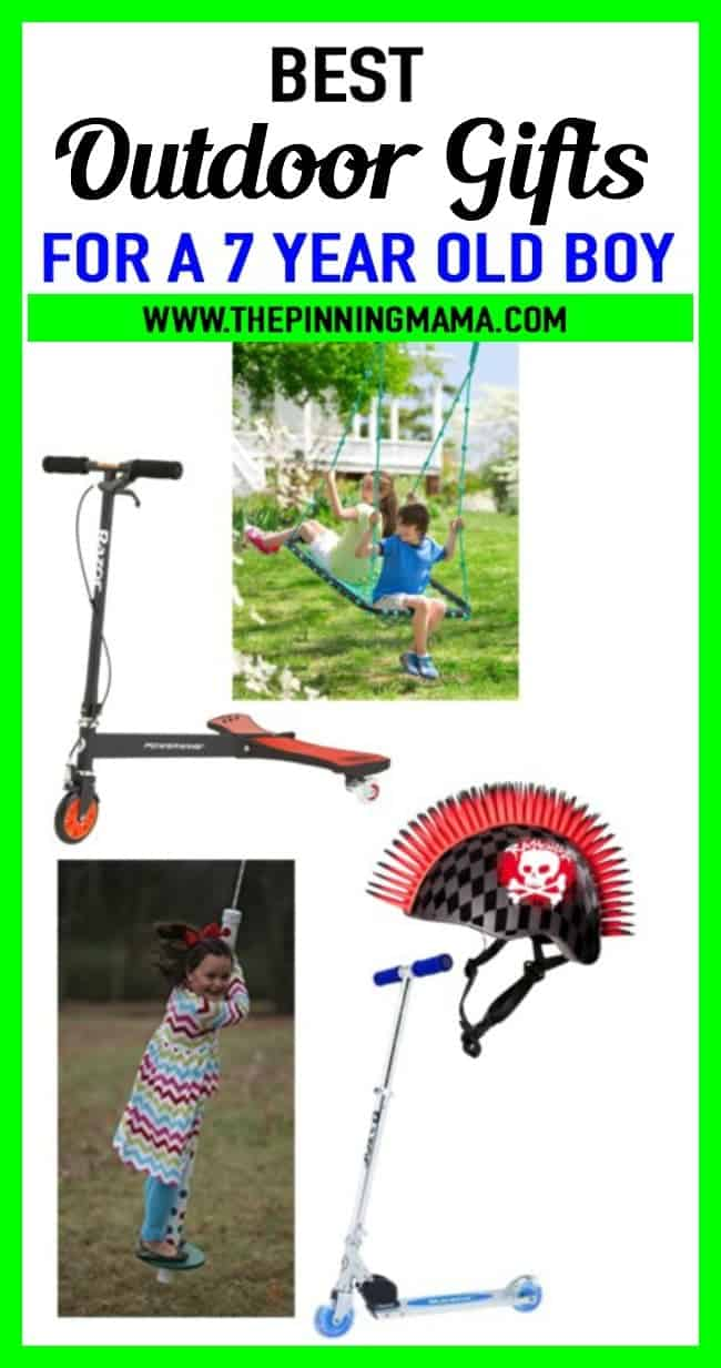 Best outdoor gift ideas for a 7 year old boy- Includes scooters, sports gift ideas, pogo sticks, swings and more!