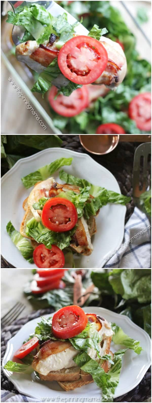 Quick + Easy + Healthy = Best dinner recipe EVER!!! BLT Chicken Bake Recipe - Quick and easy chicken dinner, so delicious AND Paleo + Whole30 compliant recipe. Tender chicken, rich bacon, crisp lettuce, and thick juicy tomatoes, it doesn't get much better than that! I love it when I can find quick recipes because so many seem to take hours to get onto the table! Dairy free, grain free low carb dinner idea!