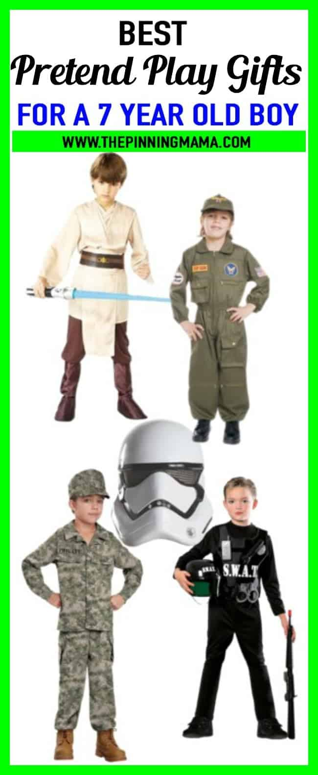 Best gift ideas for a 7 year old boy who loves dress up and pretend play! Includes pilot costumes, army, swat, star wars and more! Great ideas for birthday presents and Christmas presents