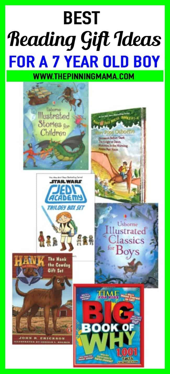 Best gifts for a 7 year old boy who loves to read. Including Magic Tree House, Jedi Academy, Story books, non-fiction books and more!