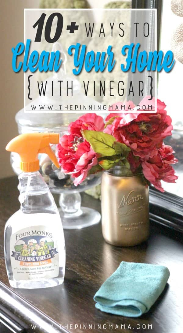 HUGE list of ways to clean around the home naturally using vinegar! Keep this handy for reference!