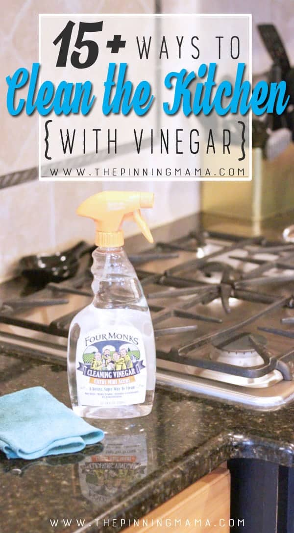 Great list of ways to clean the kitchen with vinegar! Vinegar helps break down mold, mildew, and hard water stains so it makes a great natural cleaner for the Kitchen!