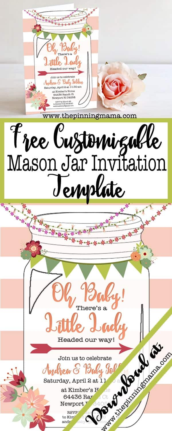 image about Free Printable Mason Jar Template named No cost Printable Mason Jar Invitation The Pinning Mama