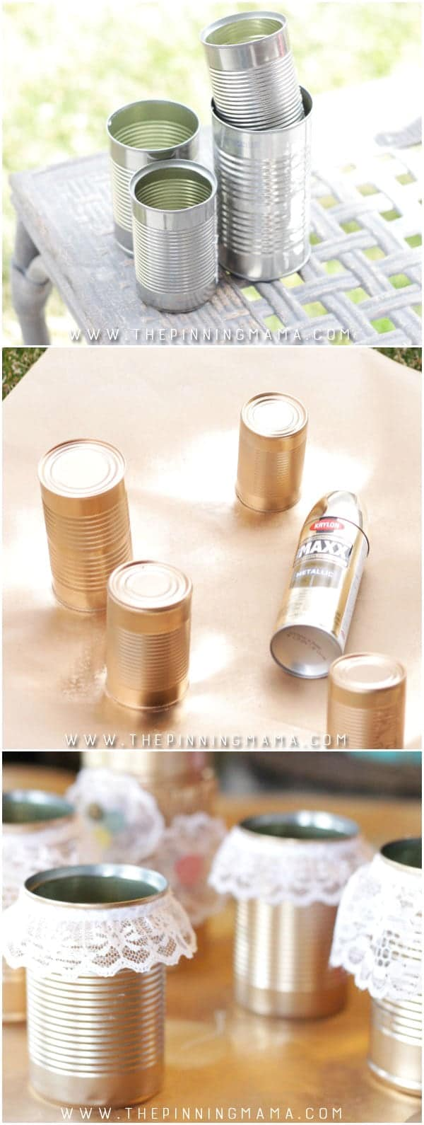 Spray Paint Tin Cans Gold And Glue Lace On Them For A Stunning Centerpiece
