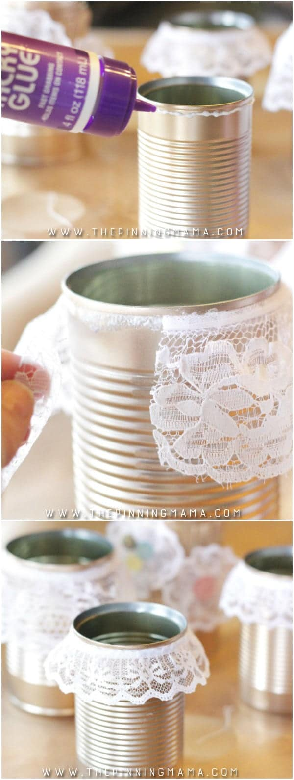 Add lace to in cans for affordable and really cute shabby chic decor! Such an easy craft idea!