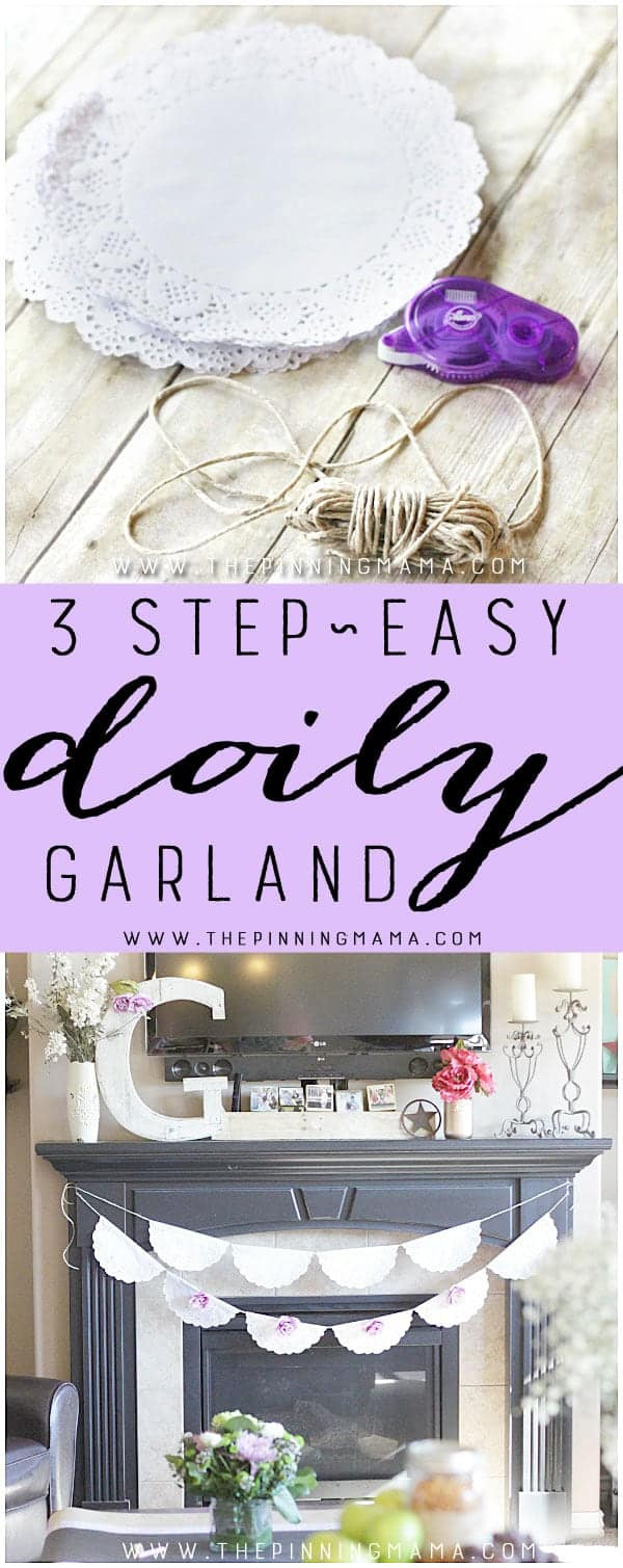 This shabby chic doily garland is simple, beautiful and is so easy to make you only need 3 things and 10 minutes to have one finished and done!  They are the perfect decoration for a vintage or shabby chic baby shower, bridal shower, or wedding!