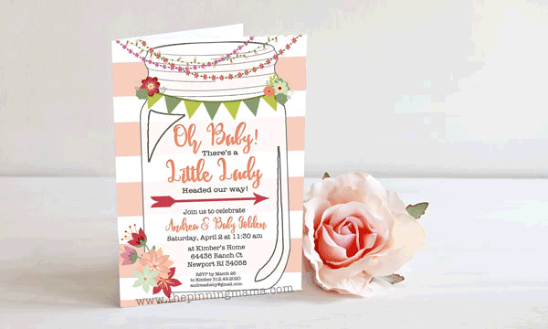 Free Printable Mason Jar Invitation you can customize for your party, print, then send out!