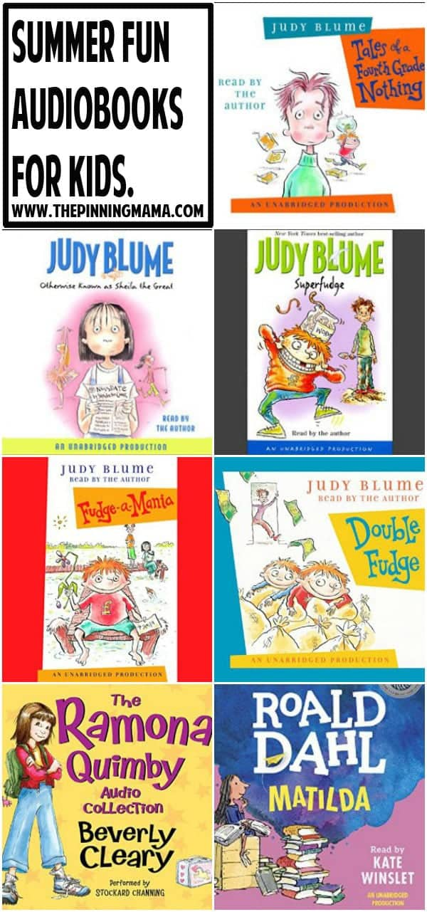 Best audio books for kids this summer- Great list of ideas to keep kids enjoying books. Especially great for road trip s this summer!