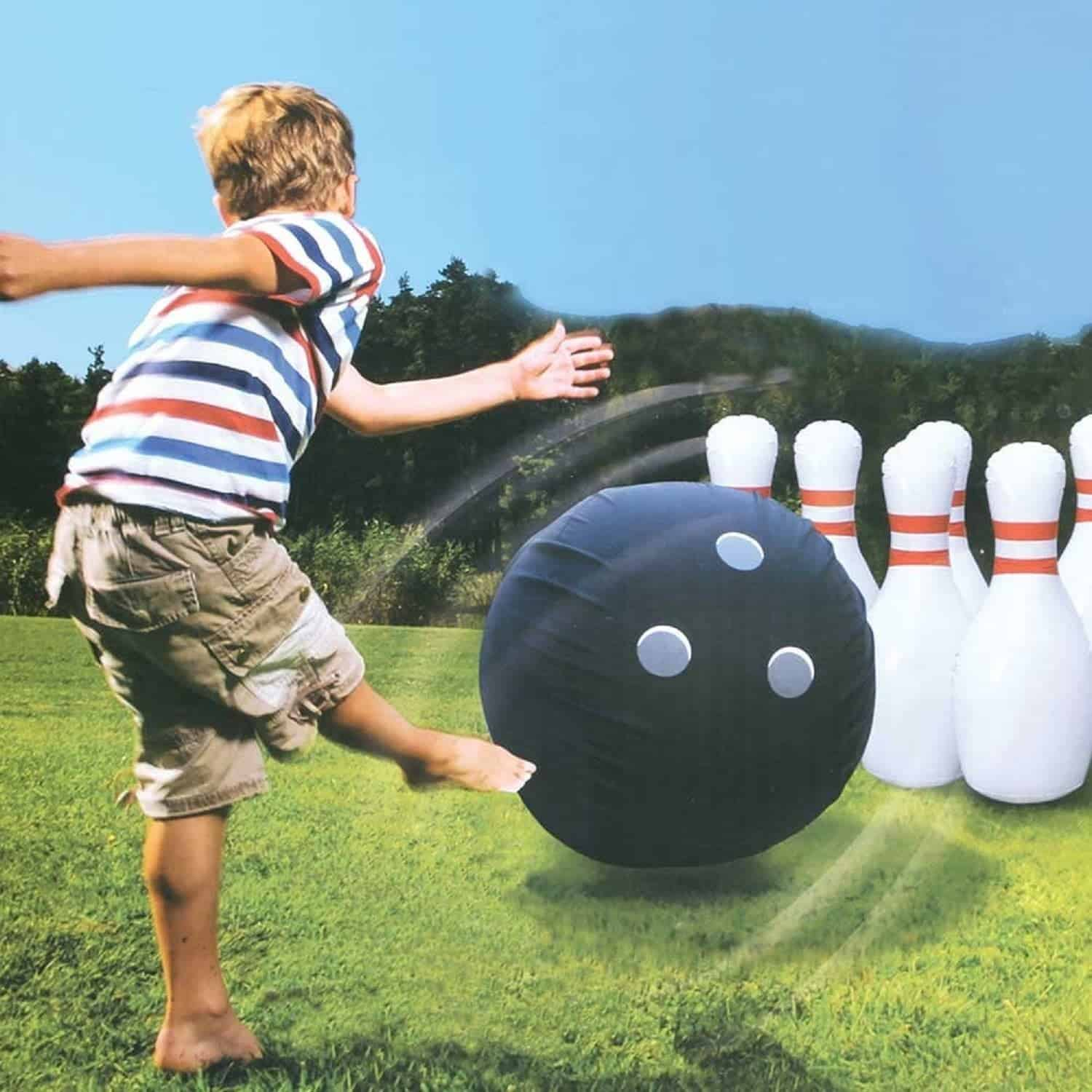 10+ Crazy Fun Outdoor Games Perfect for a Backyard Barbecue: Giant Inflatable Bowling | www.thepinningmama.com