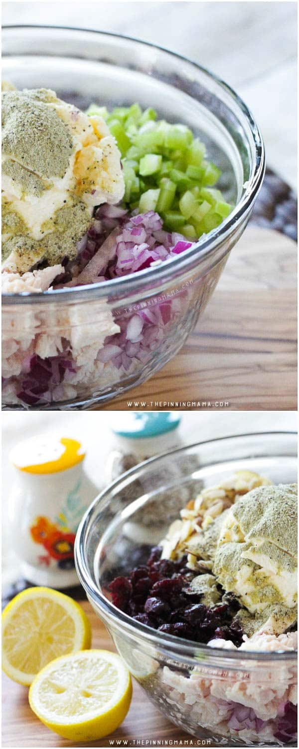 Cranberry Almond Chicken Salad Ingredients - I love the sweet tangy cranberries in this.  So delicious!!